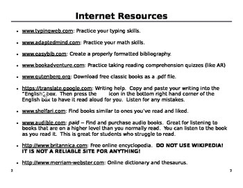 Summer / Parent Resources