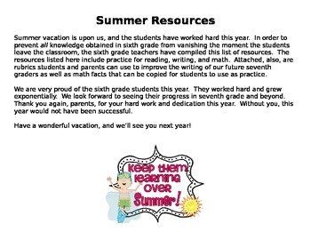 Summer / Parent Resources