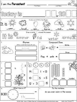 Summer Packet:  First-Second Grade Morning Work