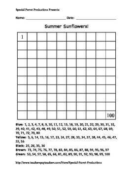Summer - Sunflower - Hundreds Chart!