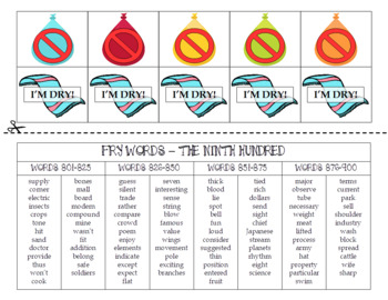 Summer FRY Sight Words Extension Pack (words 801-900)