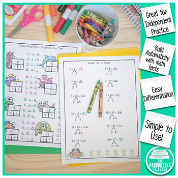 Addition and Subtraction Math Facts Worksheets: Summer