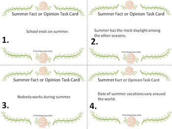 Summer Fact or Opinion Task Card