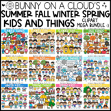 Summer Fall Winter Spring Kids and Things Clipart Mega Bundle