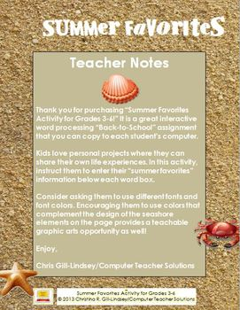 Summer Favorites--A Microsoft Word Activity for Grades 3-6