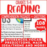 3rd & 4th Grade Reading Comprehension Passages {Bundle} Independent Work (PDF)