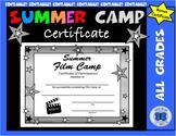 Summer Film Camp Certificate - Editable