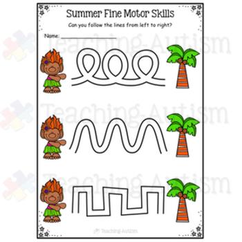 Summer Fine Motor Skills Worksheets