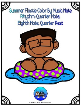 Summer Floatie Color By Music Note Rhythm Coloring - Quarter/Eighth Note, Rest