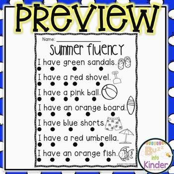 Summer Fluency Sentences for Beginning Readers
