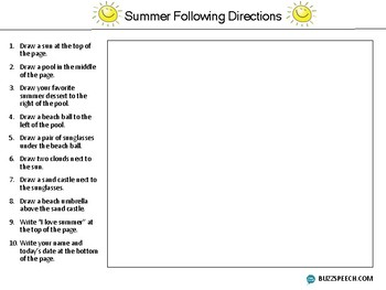 Summer Following Directions