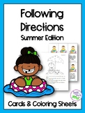 Summer Following Directions Cards & Coloring Sheets