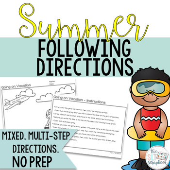 Summer Following Directions Coloring Pack- No Prep