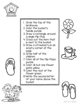 Summer Following Directions Worksheets