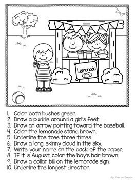 Following Directions Worksheets - Print & Go Speech Therapy Activities