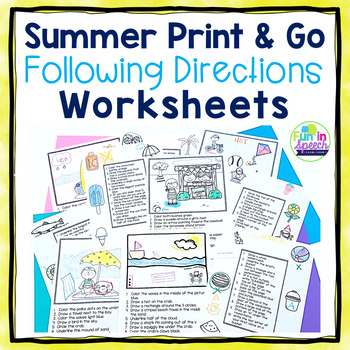 Summer Following Directions Worksheets - Print & Go Speech Therapy Activities