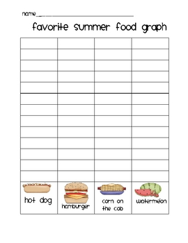Summer Foods Graphing and Fraction Practice