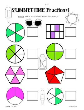 Summer Fractions Pack! Naming Fractions - Unit and Non-Unit Fractions - 2 pages