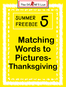 Summer Freebie 5: Matching Words to Pictures-Thanksgiving