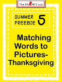 Summer Freebie 5: Matching Words to Pictures- Thanksgiving