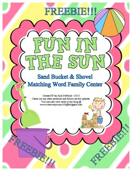 Summer Freebie! Bucket and Shovel Themed Word Family Center