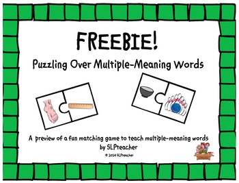 Summer Freebie: Puzzling Over Multiple-Meaning Words