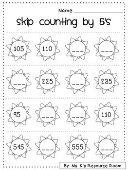 Summer Freebie! Skip Counting Worksheet