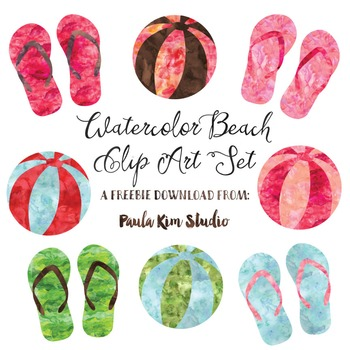 Summer Freebie - Watercolor Flip Flops and Beach Balls