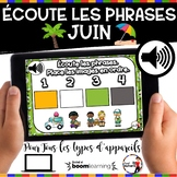 Summer French BOOM card - Écoute et replace les phrases (J