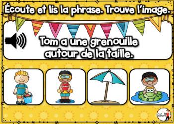 Summer French BOOM cards - Écoute et lis la phrase. (JUIN : Jeu 2)