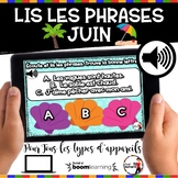 Summer French BOOM cards-Écoute et lis les phrases. (JUIN