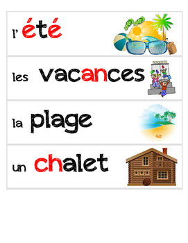 Summer - French Vocabulary Word Flashcards