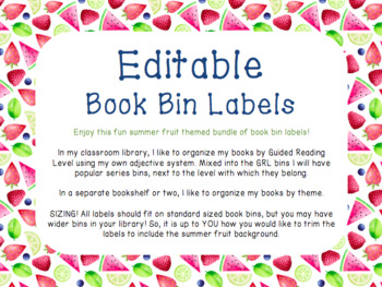 Summer Fruit Book Bin Labels EDITABLE