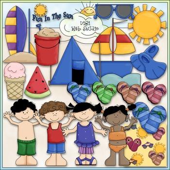 Summer Fun Clip Art 1 - Swimming Clip Art - Beach Clip Art - CU Clip Art & B&W
