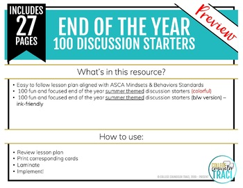 End of the Year Activities: 100 Conversation Starters (Summer Theme)