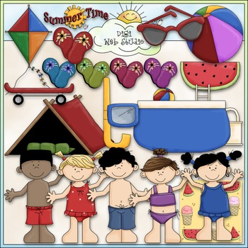 Summer Fun Clip Art 2 - Swimming Clip Art - Beach Clip Art - CU Clip Art & B&W