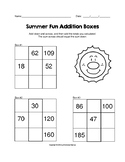 Summer Fun 2 and 3 Digit Addition Boxes Puzzle Worksheet