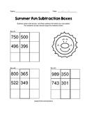 Summer Fun 3 Digit Subtraction Boxes Puzzle Worksheet