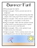 3rd Grade Summer Fun! - Share Summer Plans, End of the Year Activity