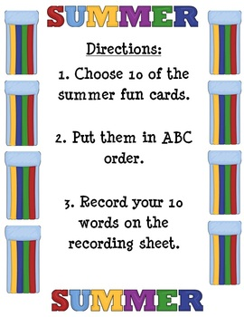Summer Fun - ABC Order- literacy center - Print and Go!