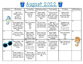Summer Fun Activity Calendar - Kindergarten going into 1st Grade - Summer 2017!