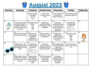 summer fun activity calendar kindergarten going into 1st grade summer 2018