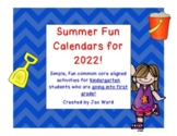 Summer Fun Activity Calendar - Kindergarten going into 1st