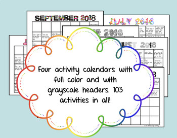 Summer Fun Activity Calendar 2018