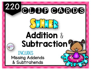 Summer Fun Addition and Subtraction Clip Cards