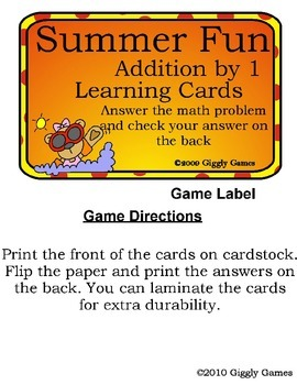 Summer Fun Addition by 1 Play & Learn Pack