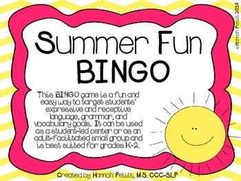 Summer Fun BINGO *Aligned to CCSS*