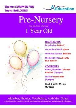 Summer Fun - Balloons : Letter Z : Zipper - Pre-Nursery (1 year old)