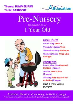 Summer Fun - Barbecue : Letter Y : Yawn - Pre-Nursery (1 y