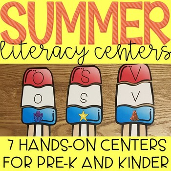 Summer Fun Beach themed Literacty Centers